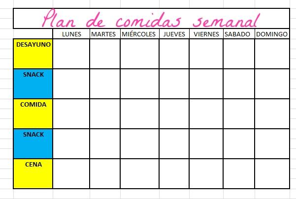 formato plan de alimentacion semanal